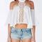 White halter off shoulder cut out crochet detail crop top