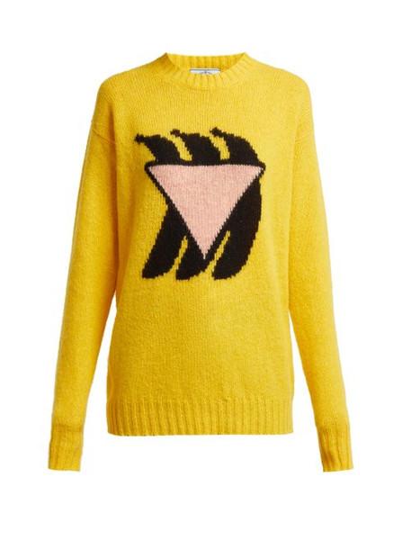 Prada - Shetland Intarsia Knit Wool Sweater - Womens - Yellow Multi