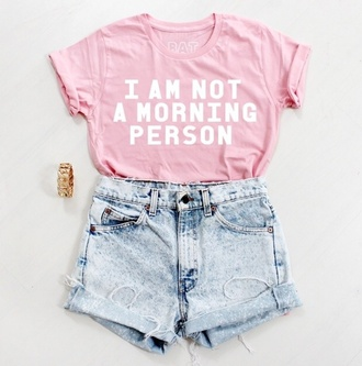 top pink i am not a morning person shorts style summer outfits clothes beach hipster boho girly cute jewels