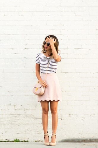 lace and locks blogger sunglasses bag pink bag shoulder bag striped top pink skirt mini skirt nude heels pink suede skirt