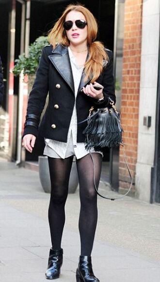 jacket lindsay lohan shorts ankle boots sunglasses