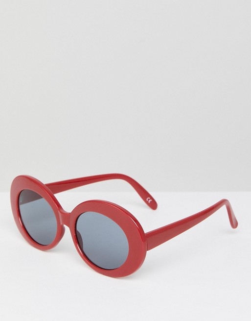 ASOS Oval Sunglasses in Red at asos.com