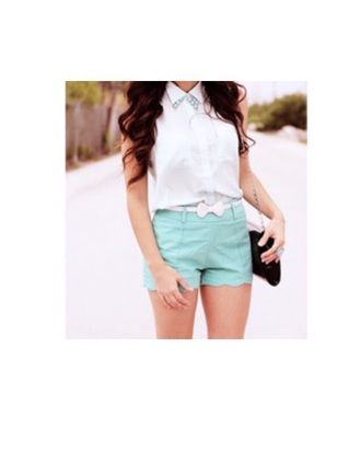 dress white tiffany blue belted bow shirt belt shorts