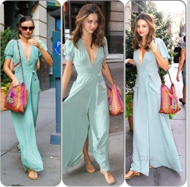 Dress: clothes, mint, miranda kerr, maxi dress, wrap dress ...