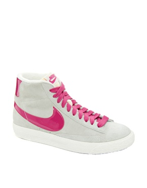 grey and pink nike blazers