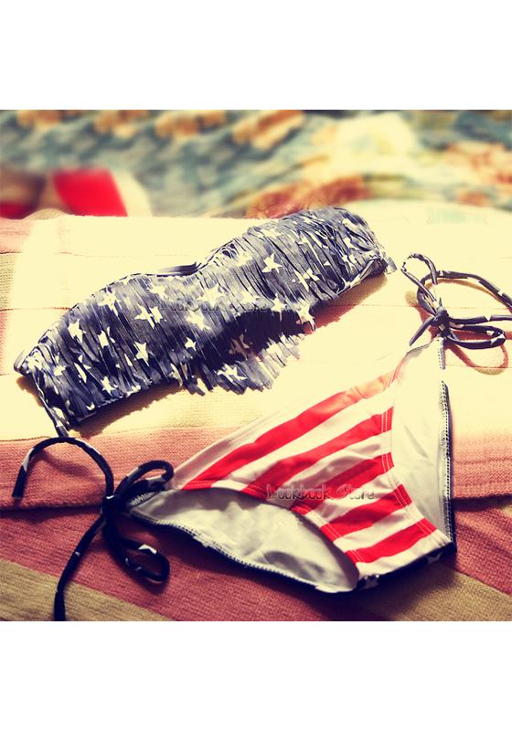 Women Stars Stripes Tassels American Flag Print Fringe RAD Bikini SET Swimwear | eBay