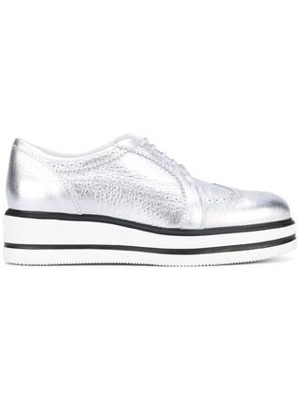 metallic women leather grey shoes