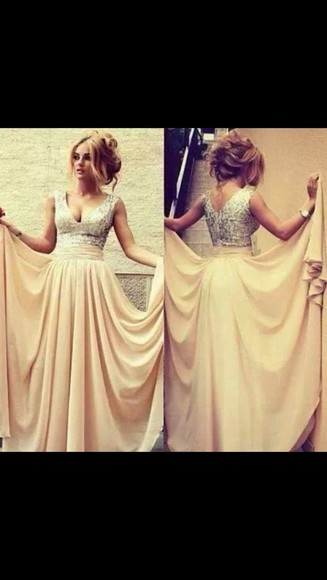 prom dress cream dress promdresses sequins floor length dress dress prom nude prom dress silver sequin dress chiffon dress ball dress silver dress champagne dresses