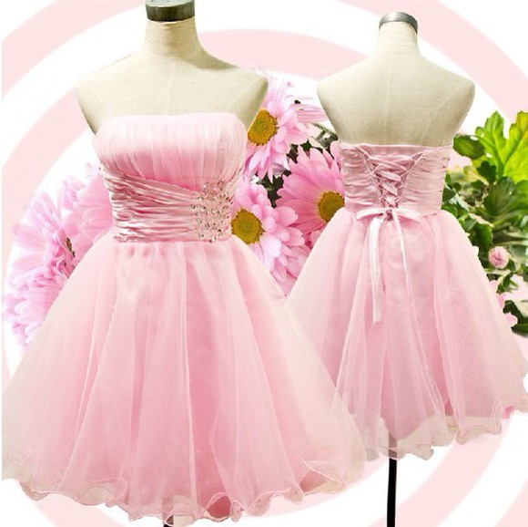 dress strapless pink dress short party dresses