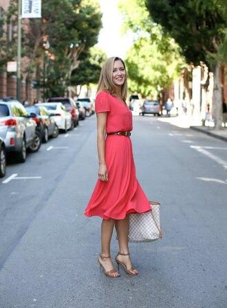 the classy cubicle blogger belt jewels pink dress red dress waist belt louis vuitton louis vuitton bag nude heels streetwear coral dress