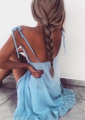 dress,blue dress,ruffle,bow,pinterest outfit,blue,short,blouse,top,summer,summer outfits,summer top,blue top,blue blouse,light blue,sky blue,spring,spring outfits,sleeveless,sleeveless top,straps,cut-out,cutout top,ruffled top,backless,backless top