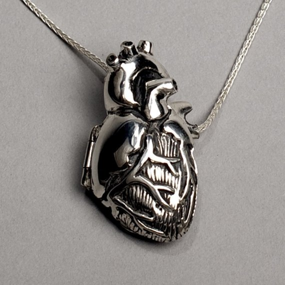 Original Silver Anatomical Heart Locket 28 by PeggySkempJewelry