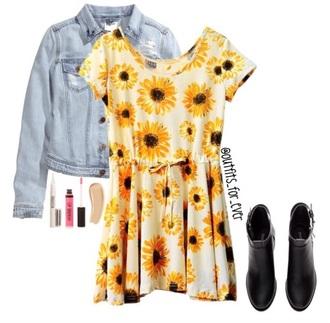 dress sunflower dress yellow dress