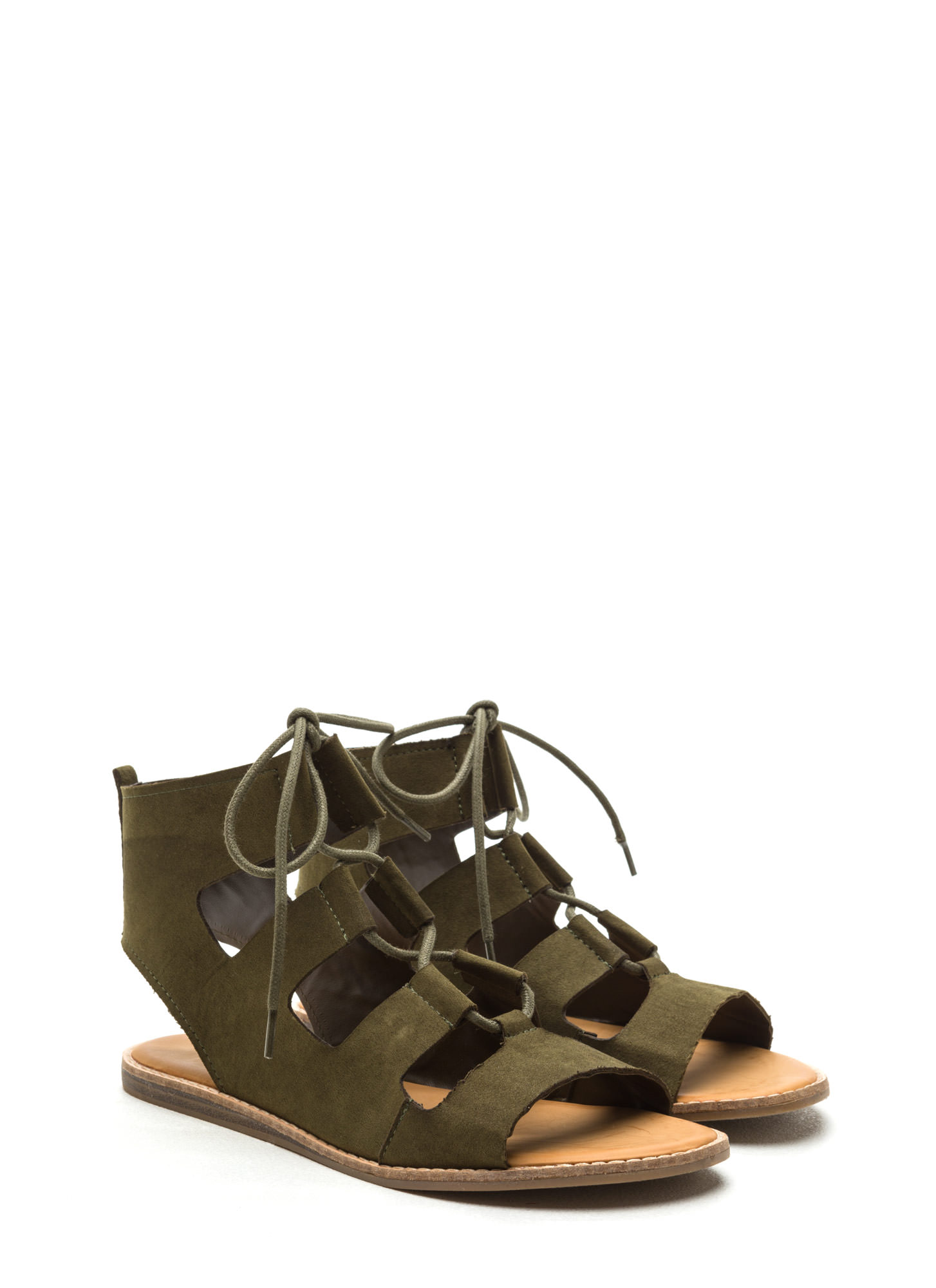 fc5cb5dbc Walk In My Lace-Up Faux Suede Sandals OLIVE BURGUNDY ...