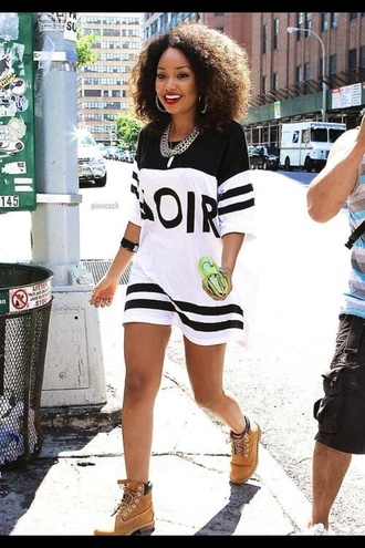 shirt t-shirt dress jewels blouse dior hipster dress bag top leigh-anne pinnock little mix jersey dress jersey white black black and white timberlands