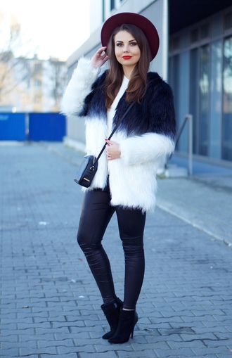 a piece of anna blogger hat fluffy fuzzy coat ombre leather leggings