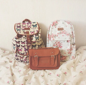 bag white butterfly backpack floral floral backpack flowers back to school school bag