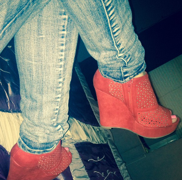 shoes red wedges