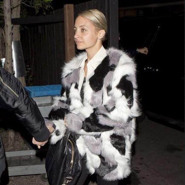 coat, faux fur, storets, faux fur, faux fur coat, fur coat, winter outfits,  winter coat, nicole richie - Wheretoget