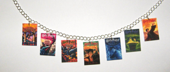 Harry potter necklace book covers charms deathly hallows lord voldemort half blood prince