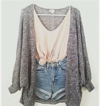cardigan grey chunky sweater shorts t-shirt