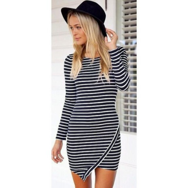 asymmetrical dress black and white dress long sleeve dress i want this dress long creamy color dress