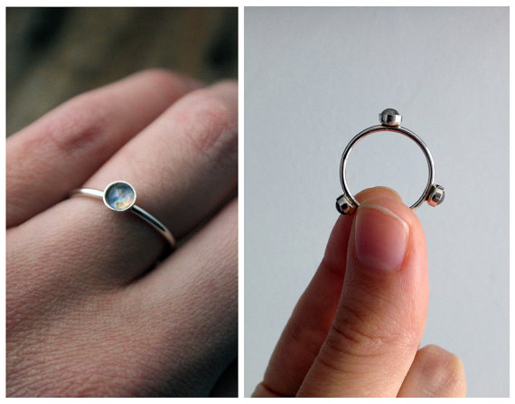 Galaxy Space Ring Band with 3 Images  Sterling by jerseymaids