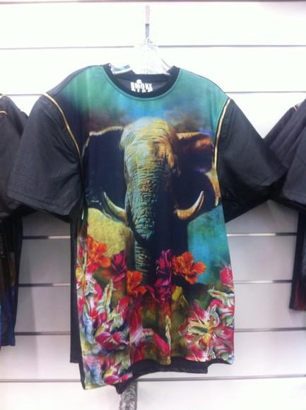 t-shirt elephant leather