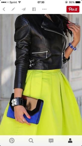 jacket black leather skirt neon green skirt green skirt envelope clutch jewels skirt nail polish bag