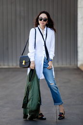 fit fab fun mom,blogger,dress,jacket,jeans,shoes,bag,sunglasses,jewels,button up,long sleeves,ripped jeans,shoulder bag,bomber jacket,green bomber jacket,flats,black flats,gucci