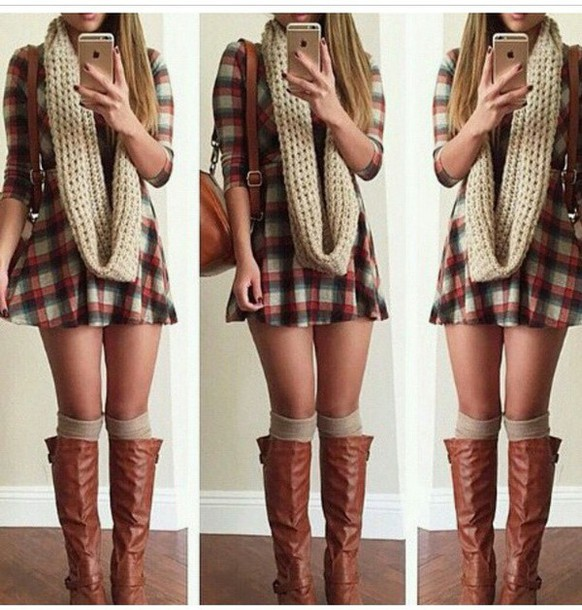 dress plaid skirt plaid fall season scarf boots brown leather boots