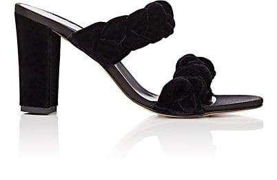Barneys New York Braided Velvet Double-Band Sandals | Barneys New York