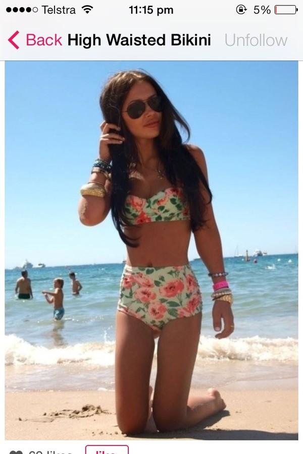 swimwear floral high waisted bikini cute floral swimwear