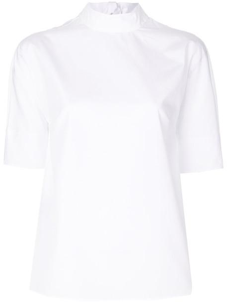 Prada - tie neck blouse - women - Cotton - 40, White, Cotton