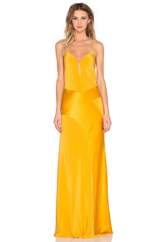 gown v neck yellow
