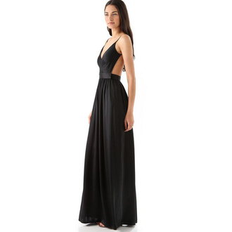long t-shirt maxi dress backless prom dress dress black