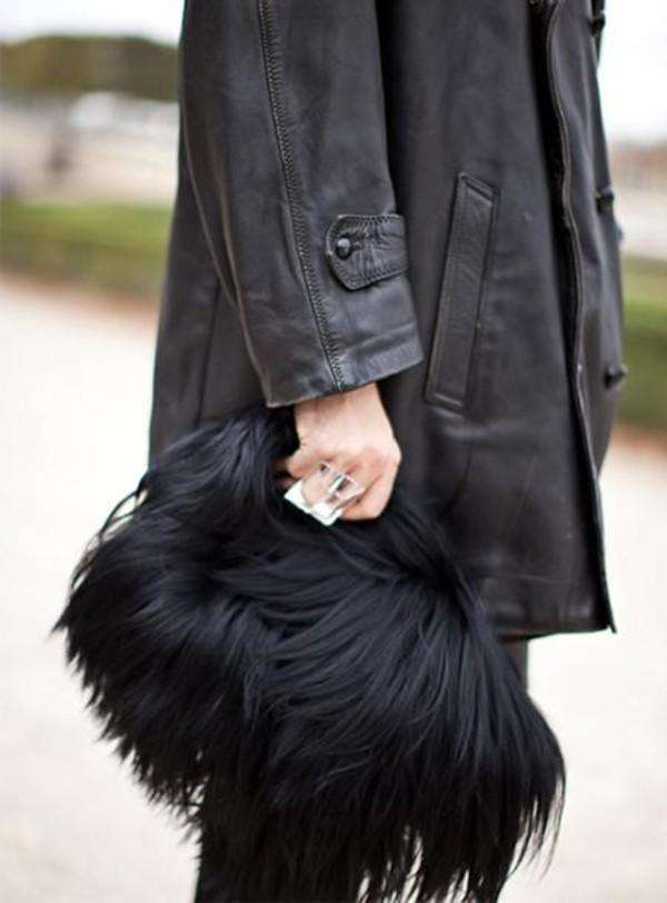 handbag clutch fur black bag furry pouch furry bag