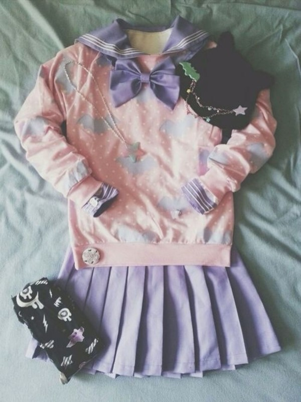 sweater purple pastel pink pastel kawaii bag skirt jewels hat