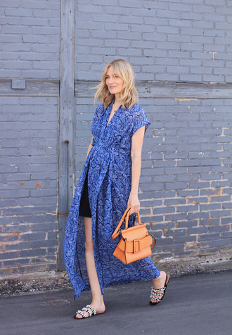 dress tumblr blue dress maxi dress slit dress bag brown bag sandals