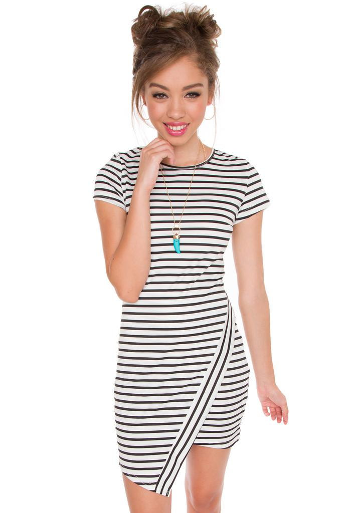 KJ Stripe Dress - White