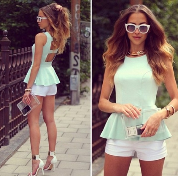 t-shirt classy mint white