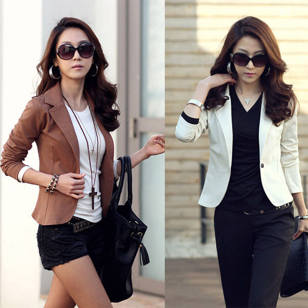 Womens OL Jackets Coat Lapel One Button Long Sleeve Short Suit Blazer Outerwear | eBay