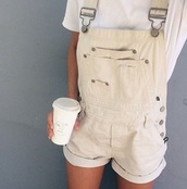 jumpsuit,white,white jumpsuit,coffee,denim,overalls,hipster,alternative,summer,spring,holidays,denim overalls,short overalls