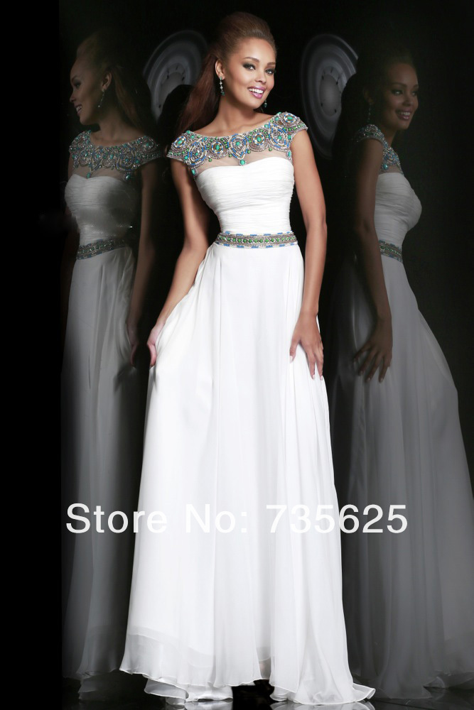 2014 New Arrival High Quality White Scoop Backless Sexy Floor Length Chiffon A Line Evening Dress Party Long Dresses Gowns H228-in Evening Dresses from Apparel & Accessories on Aliexpress.com