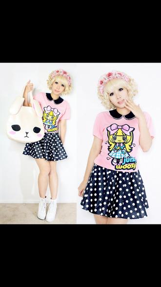 skirt shirt pastel goth cute fairy kei blouse bag