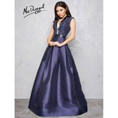 dress,mac duggal prom dresses,platinum hair,couture,lookbook store,navy