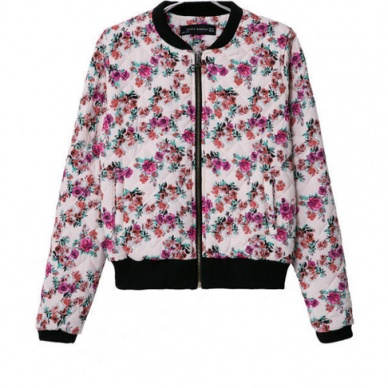 Designer jackets fashion standup neck floral printed tops CY-E807C7-Lovelyshoes.net
