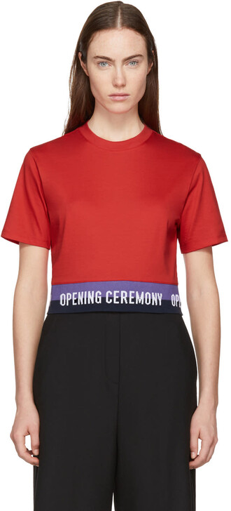 t-shirt shirt cropped red top