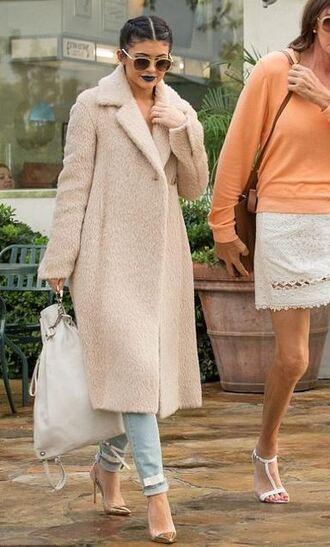 coat kylie jenner jeans denim pumps sunglasses shoes fuzzy coat