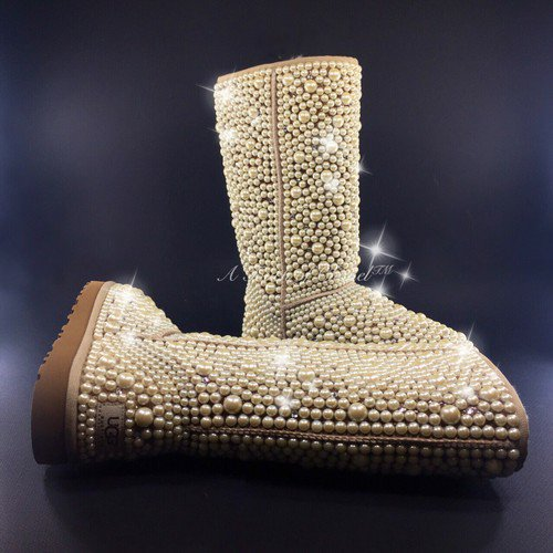 Tall full pearl and swarovski crystal ugg boots by atouchofchanel